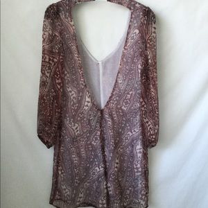 Reformation Sheer Mini Dress Puff Sleeve Backless